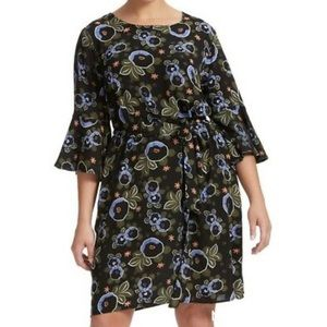 Eloquii Black Crepe Thistle Flower Dress SZ 22